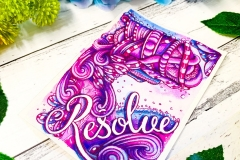 Resolve watercolor and ink Zentangle art